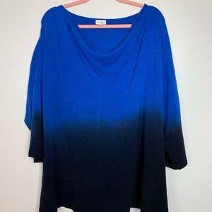 Blue ombre trendy top 2x